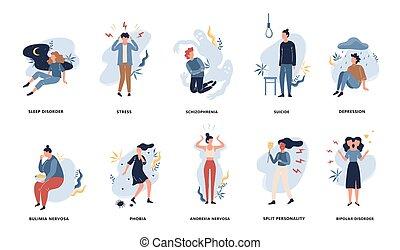 αταξία , set., ψυχιατρικός , διανοητικός , άνθρωποι , συλλογή