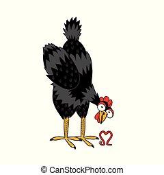 ατενίζω , καρδιά , σκουλήκι , depicts, κοτόπουλο