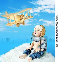 ατενίζω , μικρός , άθυρμα αεροπλάνο , πιλότοs