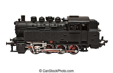 ατμομηχανή σιδηροδρόμου , μοντέλο , πλαϊνή όψη , με , απόκομμα ατραπός