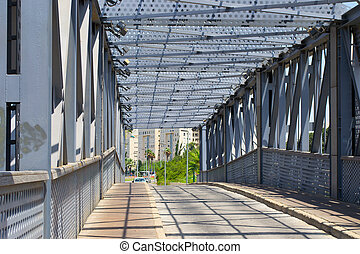 ατσάλι , δομή , από , κάτω από , ο , γέφυρα