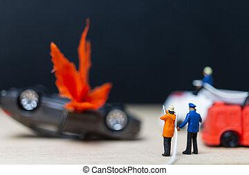 ατύχημα , άνθρωποι , αυτοκίνητο , firefighters , μινιατούρα , :