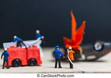ατύχημα , άνθρωποι , firefighters , αυτοκίνητο , μινιατούρα , :