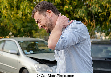 ατύχημα , αυτοκίνητο , μετά , κακός , βλάβη , αίσθημα , άντραs