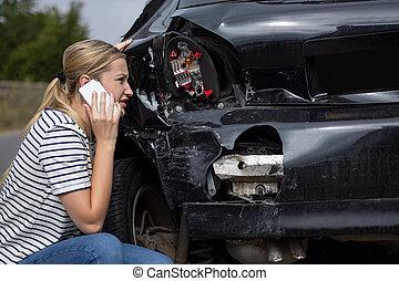ατύχημα , γυναίκα , ασφάλεια , αυτοκίνητο , οδηγός , σκάρτος , μετά , ευκίνητος τηλέφωνο , ατυχής , εταιρεία , επάγγελμα
