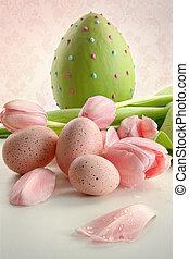 αυγά , και , ροζ , τουλίπα
