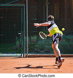 αυλή , παίκτης του τέννις , άμμοs , υπεράσπιση , δράση