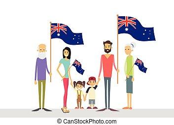 αυστραλία , οικογένεια , μεγάλος , εθνική σημαία , μικρόκοσμος , γονείς , παππούς και γιαγιά , ημέρα