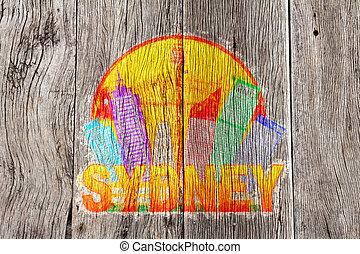 αυστραλία , φόντο μπογιά , γραμμή ορίζοντα , ξύλο , sydney , illustrati , κύκλοs