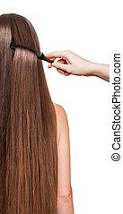 αυτήν , barber's, ευθεία , απομονωμένος , μακριά , χέρι , μαλλιά , διερευνώ συστηματικά