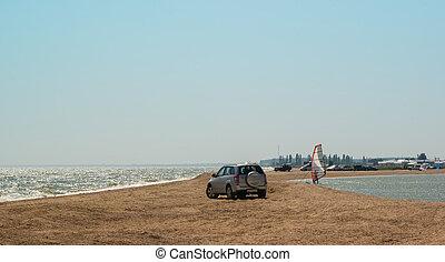 αυτοκίνητο , άμμος ακρογιαλιά