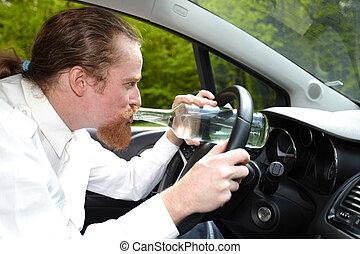 αυτοκίνητο , άντραs , αλκοόλ , μπουκάλι , μεθυσμένος