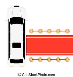 αυτοκίνητο , άσπρο , λιμουζίνα , παρκαρισμένες , κόκκινο