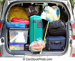 αυτοκίνητο , βαλίτσα , άδεια , οικογένεια , κιβώτιο