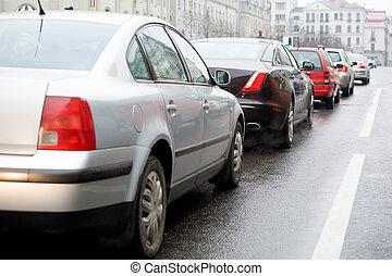 αυτοκίνητο , βιασύνη , κυκλοφορία , ώρα , κατά την διάρκεια