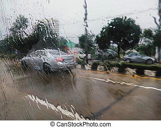 αυτοκίνητο , βροχή , παράθυρο , δρόμοs , αφήνω να πέσει , βλέπω