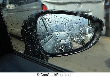 αυτοκίνητο , βροχή , πελτέs , κυκλοφορία , καθρέφτηs , πλευρά