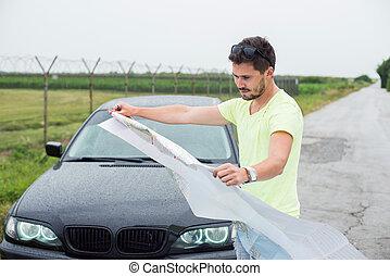 αυτοκίνητο , δρόμοs , νέος , διάβασμα , άντραs , πλευρά , αόρ. του lose , δικός του , χάρτηs , παρκαρισμένες