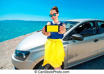αυτοκίνητο , εκδήλωση , γυναίκα , οθόνη , τηλέφωνο