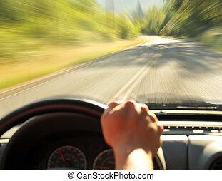 αυτοκίνητο , εσωτερικός , οδήγηση