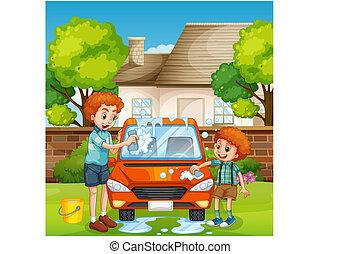 αυτοκίνητο , ευτυχισμένος , πλύση , άνθρωποι