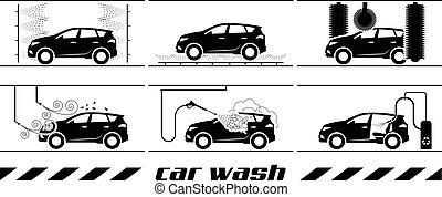 αυτοκίνητο , θέτω , πλύση , απεικόνιση