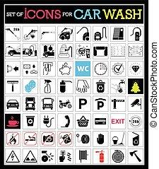 αυτοκίνητο , θέτω , πλύση , icons.