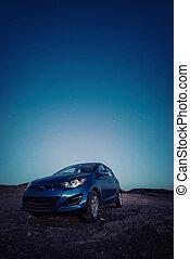αυτοκίνητο , κάτω από , ένα , απαστράπτων αστεροειδής κλίμα