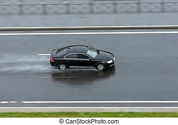 αυτοκίνητο , καβαλλικεύω , μαύρο , highway., βροχή