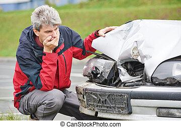αυτοκίνητο , μετά , σύγκρουση αυτοκινήτου , αναποδογυρίζω , άντραs