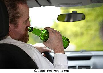 αυτοκίνητο , μπύρα , άντραs , μπουκάλι , μεθυσμένος