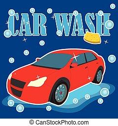 αυτοκίνητο , πλύση , κόκκινο
