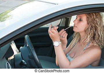 αυτοκίνητο , φτιάχνω , γυναίκα , νέος , πάνω
