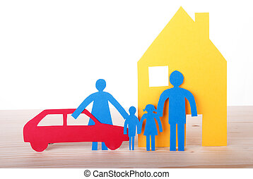 αυτοκίνητο , χαρτί , οικογένεια , σπίτι