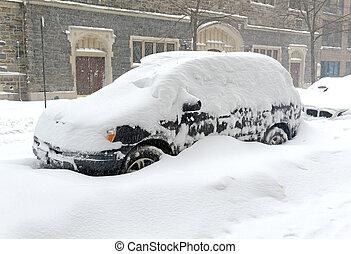 αυτοκίνητο , χιονοστρόβιλοs , σκεπαστός , κατά την διάρκεια , χιόνι
