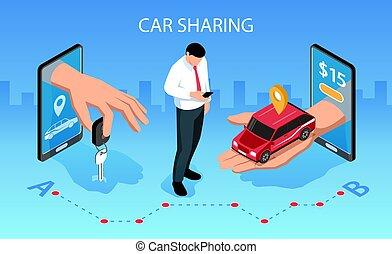 αυτοκίνητο , isometric , μοιρασιά , έκθεση