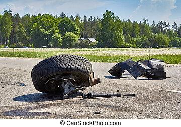 αυτοκινητιστικό δυστύχημα , δρόμοs , κομμάτια , μετά