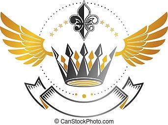 αυτοκρατορικός , παλτό , κρασί , κηρυκείος , αποκορυφώνω , logotype, απομονωμένος , φόντο. , όπλα , μικροβιοφορέας , διακοσμημένος , άσπρο , emblem., logo.