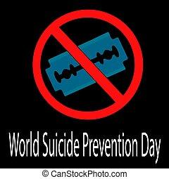αυτοκτονία , 2019., ξυράφι , εικόνα , μικροβιοφορέας , αφίσα , κόσμοs , blade., 10 , σεπτέμβριοs , σχεδιάζω , γιορτάζω , banner., πρόληψη , day.