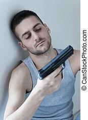 αυτοκτονία , thoughts., πάτωμα , κατέθλιψα , κάθονται , νέος , όπλο , κράτημα , άντραs