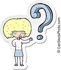 αυτοκόλλητη ετικέτα , γυναίκα , ερώτηση , γελοιογραφία