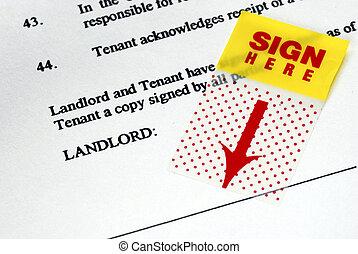 αυτοκόλλητη ετικέτα , ενοίκιο , συμβόλαιο , sign-here
