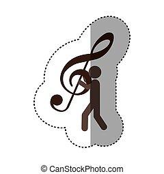 αυτοκόλλητη ετικέτα , εργάτης , αμπάρι ανακριτού , σήμα , μουσική , μουσική με υψίφωνο κλειδί