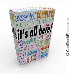 αυτό είναι , όλα , εδώ , προϊόν , κουτί , όλα , περιεκτικός...