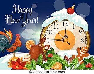 αφίσα , έτος , ευτυχισμένος , καινούργιος , ρολόι