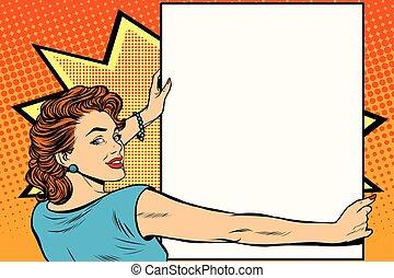 αφίσα , γυναίκα , τέχνη , κράτημα , κρότος