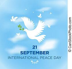 αφίσα , ειρήνη , παράρτημα , ελιά , διεθνής , περιστέρα , ημέρα
