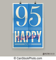 αφίσα , κάρτα , χρόνια , γενέθλια , ninety-five, ευτυχισμένος , old.