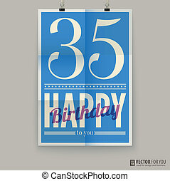 αφίσα , κάρτα , χρόνια , γενέθλια , thirty-five, ευτυχισμένος , old.