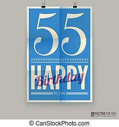 αφίσα , κάρτα , χρόνια , fifty-five , γενέθλια , ευτυχισμένος , old.